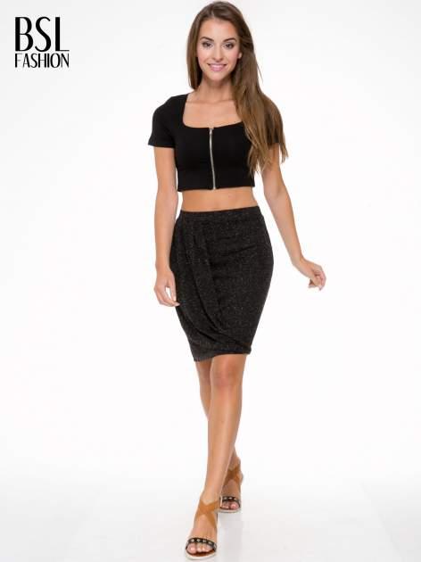 Czarna melanżowa spódnica z drapowaniem                                  zdj.                                  2