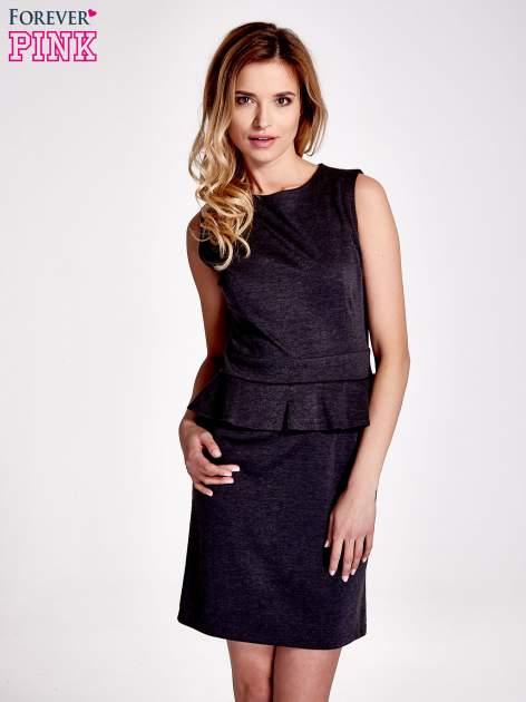 Czarna melanżowa sukienka z baskinką                                  zdj.                                  1
