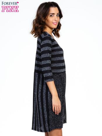 Czarna melanżowa sukienka z motywem pasków                                  zdj.                                  3