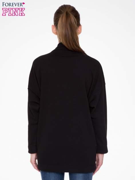 Czarna otwarta bluza dresowa                                  zdj.                                  4