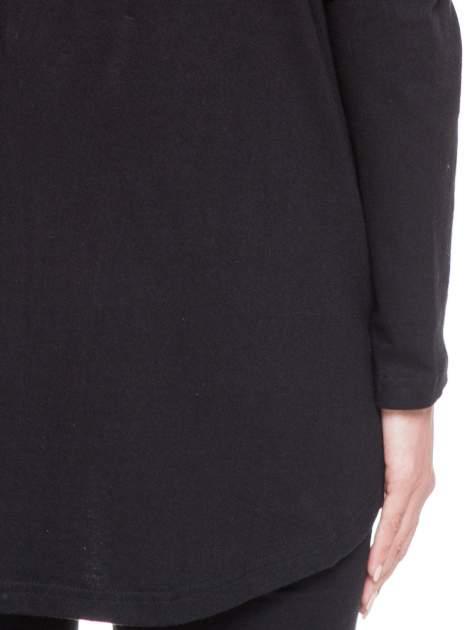 Czarna otwarta bluza dresowa z kapturem                                  zdj.                                  5