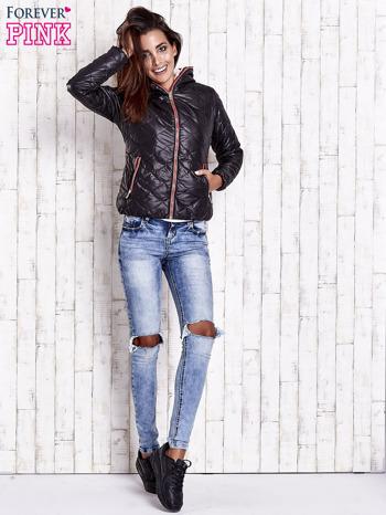 Czarna pikowana kurtka z futrzanym ociepleniem                                   zdj.                                  6