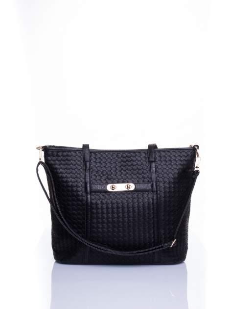 Czarna pleciona torba shopper bag ze złotym detalem
