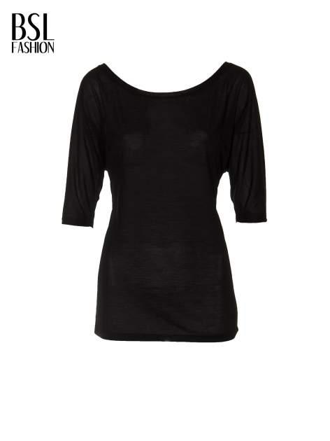 Czarna półtransparentna bluzka z łódkowym dekoltem i rękawami 3/4                                  zdj.                                  5