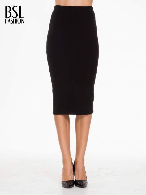 Czarna prążkowana dzianinowa spódnica za kolano                                  zdj.                                  1