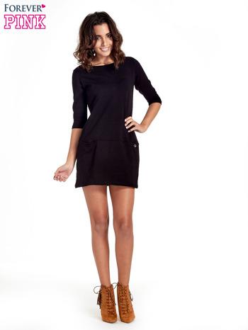 Czarna prosta sukienka z kieszeniami                                   zdj.                                  8