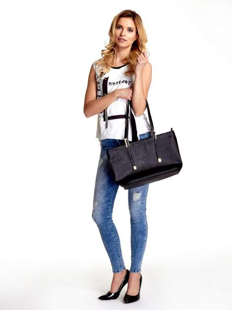Czarna prosta torba shopper bag                                  zdj.                                  2