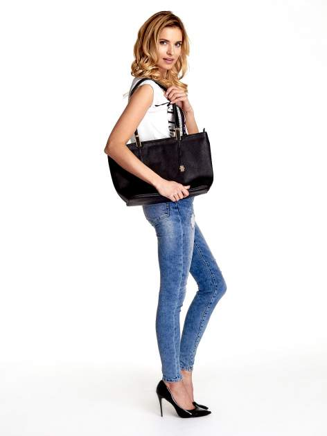 Czarna prosta torba shopper bag                                  zdj.                                  6