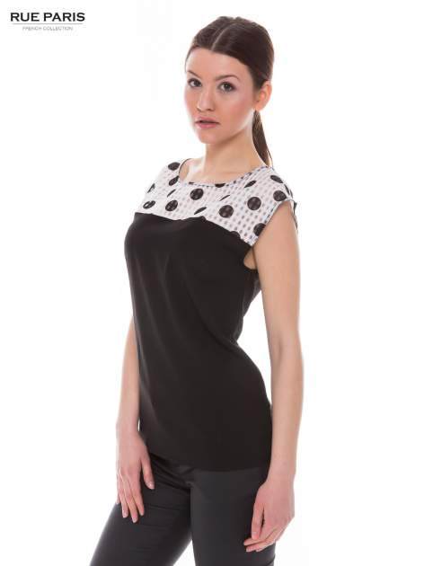 Czarna retro koszula z karczkiem w grochy                                  zdj.                                  2
