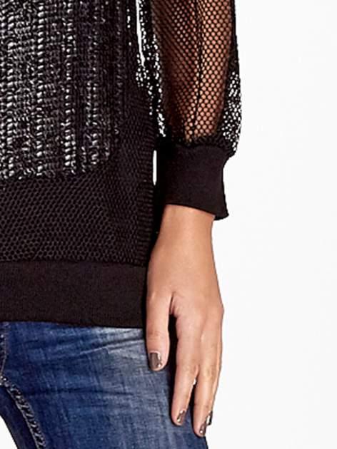 Czarna siatkowa bluzka z efektem glitter                                  zdj.                                  6