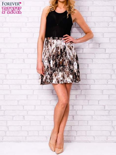 Czarna siatkowa sukienka ze złotym dołem                                  zdj.                                  4