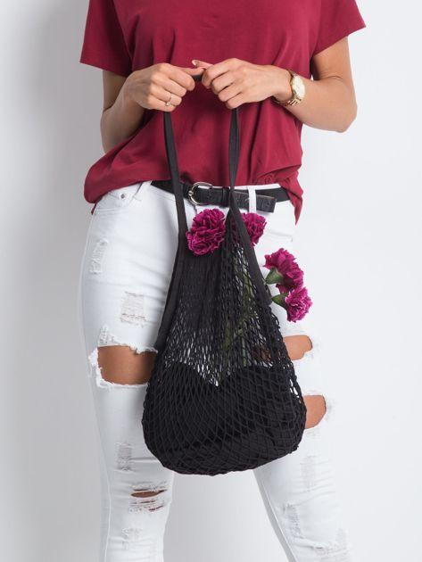 Czarna siatkowa torba                              zdj.                              1