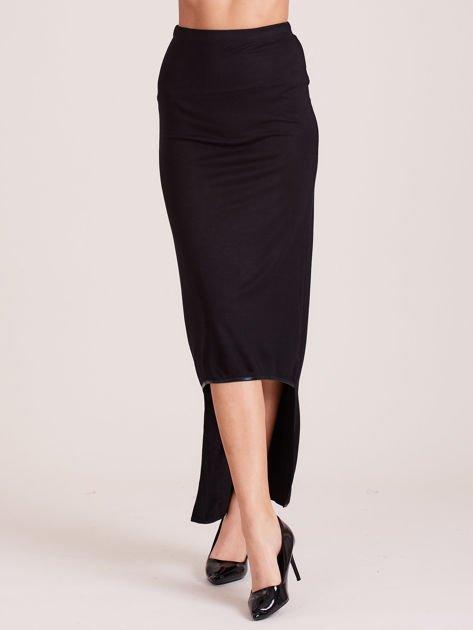 Czarna spódnica maxi z krótszym tyłem i obszyciem ze skóry                                  zdj.                                  5