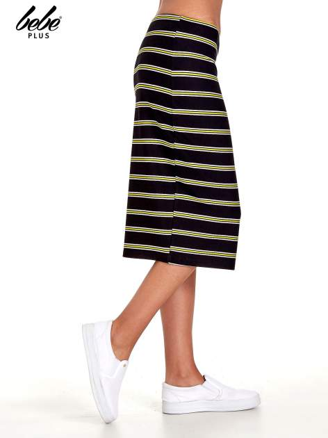 Czarna spódnica midi w żółte paski                                  zdj.                                  3