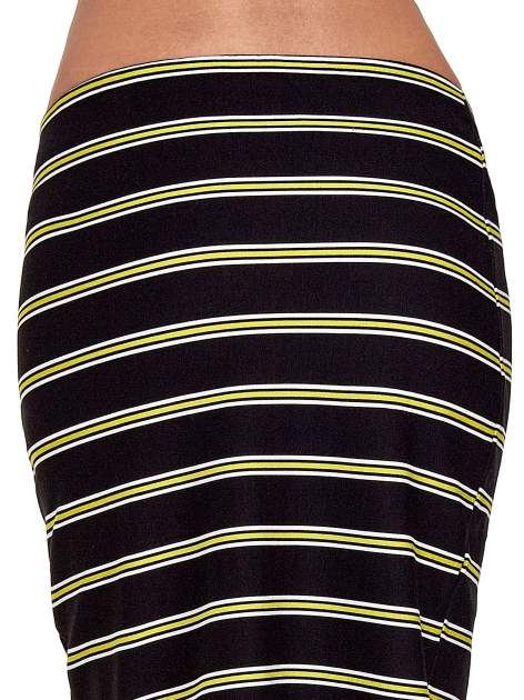Czarna spódnica midi w żółte paski                                  zdj.                                  6