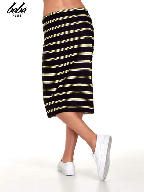 Czarna spódnica midi w żółte paski                                  zdj.                                  4