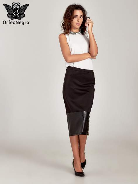 Czarna spódnica midi z siatkowym modułem                                  zdj.                                  2