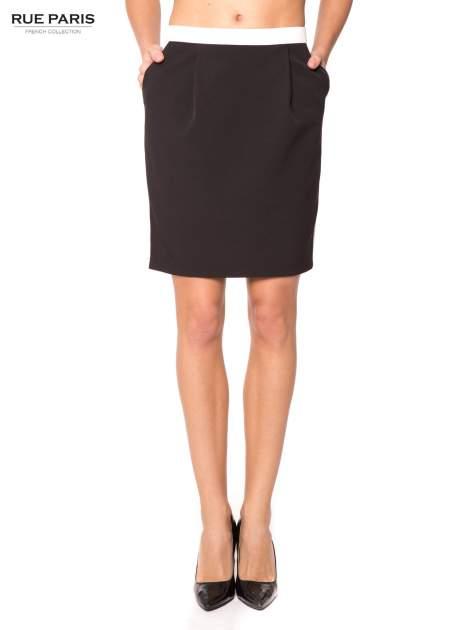 Czarna spódnica two tone z kontrastowymi białymi pasami
