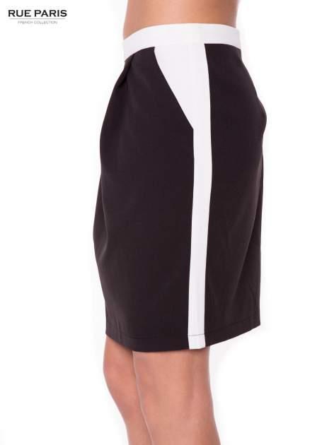 Czarna spódnica two tone z kontrastowymi białymi pasami                                  zdj.                                  2