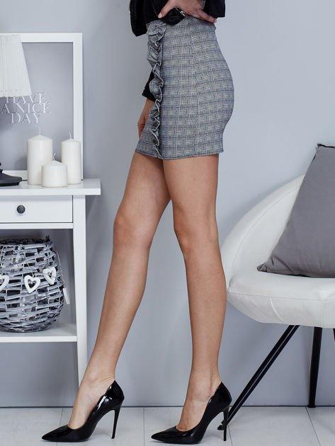 Czarna spódnica w kratkę z falbaną                                  zdj.                                  5
