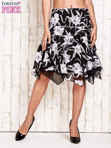 Czarna spódnica w kwiaty z karczkiem                                  zdj.                                  3