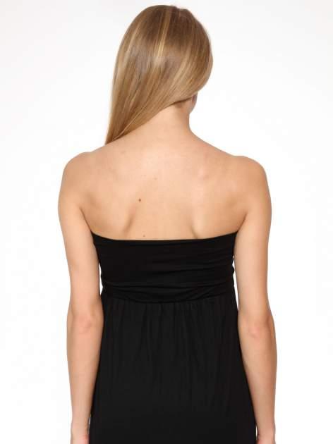 Czarna sukienka bez ramiączek z dłuższym tyłem                                  zdj.                                  8