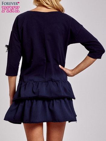 Czarna sukienka dresowa ombre z podwójną falbaną                                  zdj.                                  4