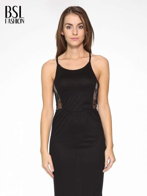 Czarna sukienka maxi na ramiączkach z koronkowym tyłem                                  zdj.                                  6