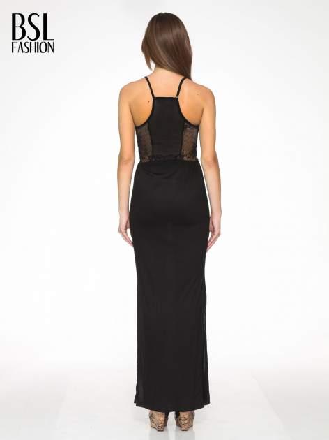 Czarna sukienka maxi na ramiączkach z koronkowym tyłem                                  zdj.                                  4