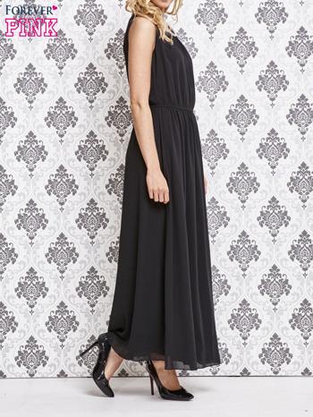 Czarna sukienka maxi z biżuteryjnym dekoltem                                  zdj.                                  3