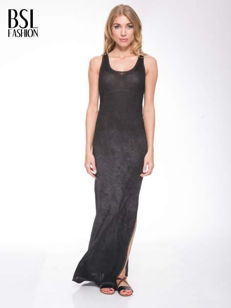 Czarna sukienka maxi z efektem sprania                                  zdj.                                  1