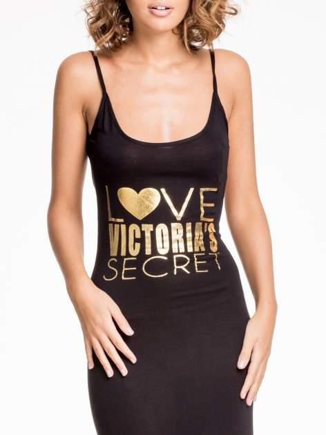 Czarna sukienka maxi z napisem LOVE VICTORIA'S SECRET                                  zdj.                                  5