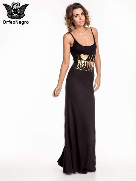 Czarna sukienka maxi z napisem LOVE VICTORIA'S SECRET                                  zdj.                                  4