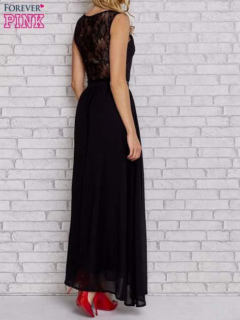 Czarna sukienka maxi ze skórzanym pasem a'la ćwieki                                  zdj.                                  2