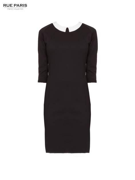 Czarna sukienka pensjonarka z białym kołnierzykiem                                  zdj.                                  5
