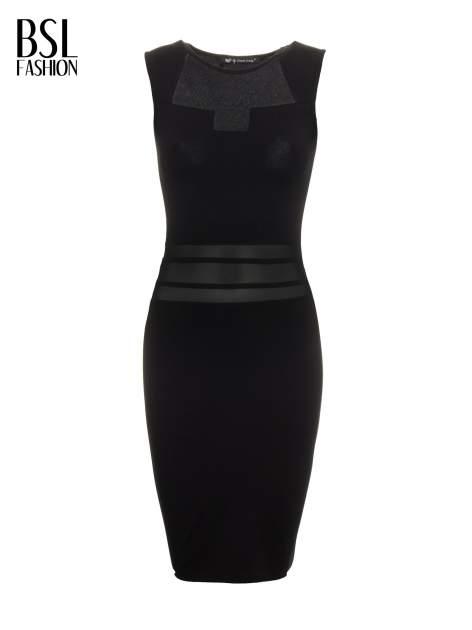 Czarna sukienka tuba z tiulowymi wycięciami                                  zdj.                                  2