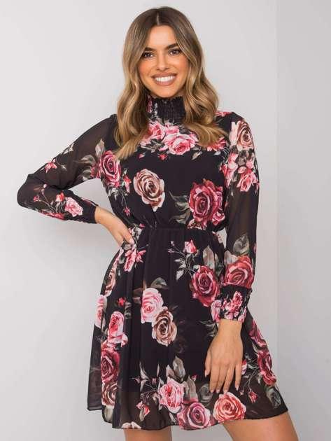Czarna sukienka w kwiaty Kalisse RUE PARIS
