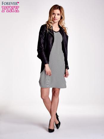 Czarna sukienka w pionowe drobne paski                                  zdj.                                  2