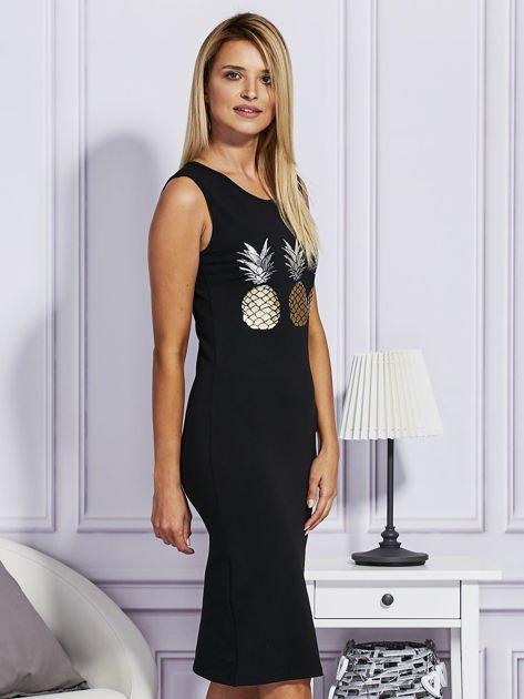 Czarna sukienka z ananasami                              zdj.                              3