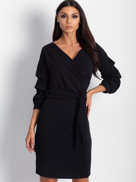 Czarna sukienka z drapowanymi rękawami                              zdj.                              3