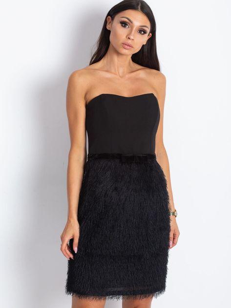 Czarna sukienka z frędzelkami                               zdj.                              1