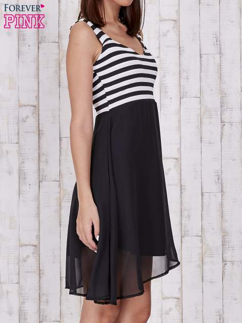 Czarna sukienka z górą w paski                                  zdj.                                  3