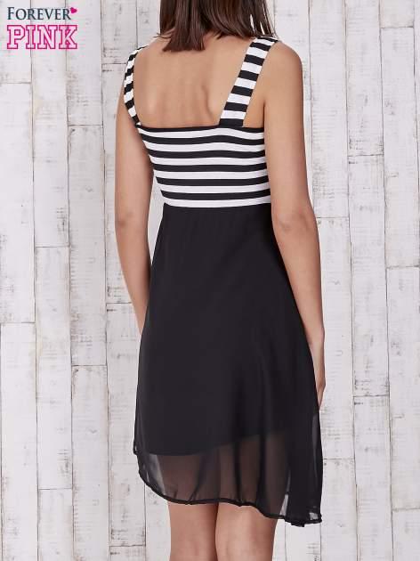 Czarna sukienka z górą w paski                                  zdj.                                  4