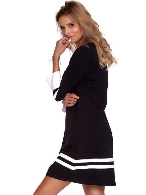 Czarna sukienka z kontrastowymi wstawkami                              zdj.                              6