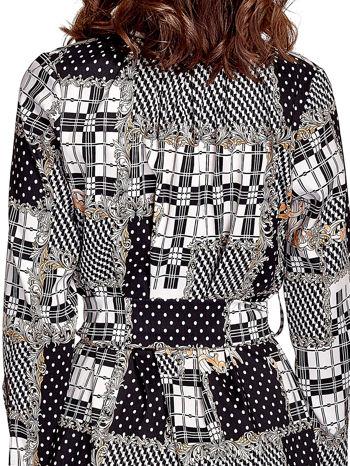 Czarna sukienka z nadrukami i wiązaniem w pasie                                  zdj.                                  6
