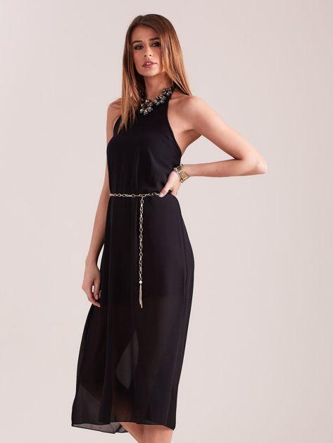 Czarna sukienka z ozdobnym dekoltem                              zdj.                              4