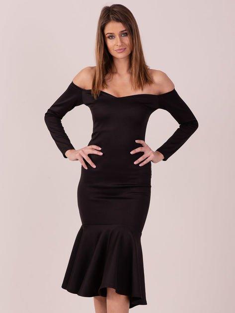 Czarna sukienka z szeroką falbaną na dole                                  zdj.                                  2