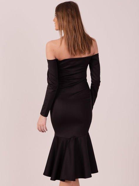 Czarna sukienka z szeroką falbaną na dole                                  zdj.                                  5