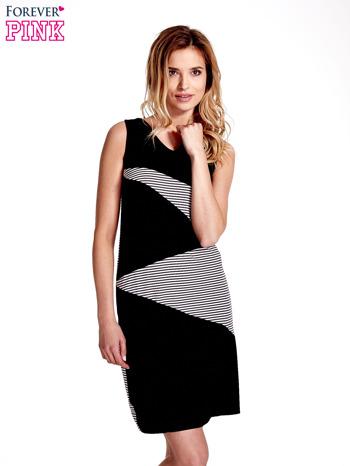 Czarna sukienka z wykończeniem w paski                                  zdj.                                  1