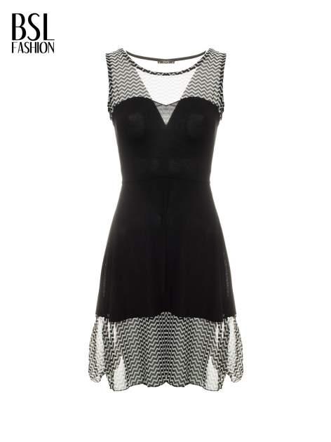 Czarna sukienka z wzorzystą wstawką na górze i falbaną                                  zdj.                                  7